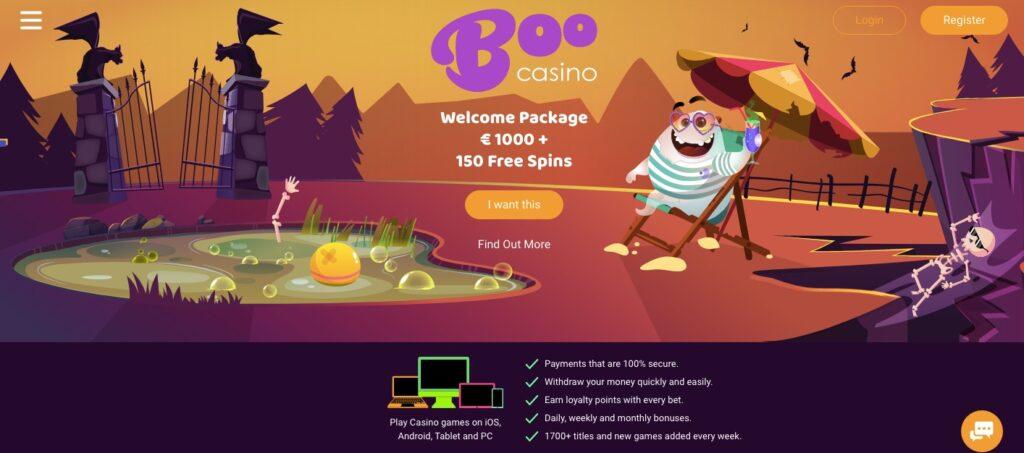 boo casino desktop start page