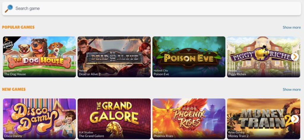 screenhot from the casino game lobby showing 4 popular games and 4 new games