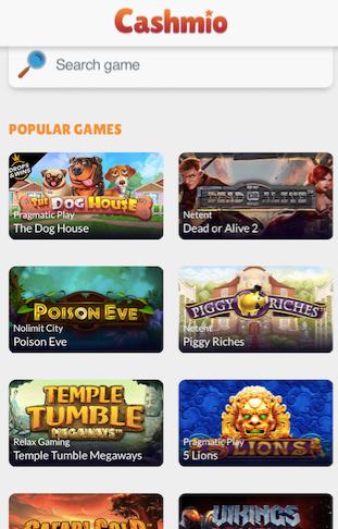 cashmio casino mobile version game lobby