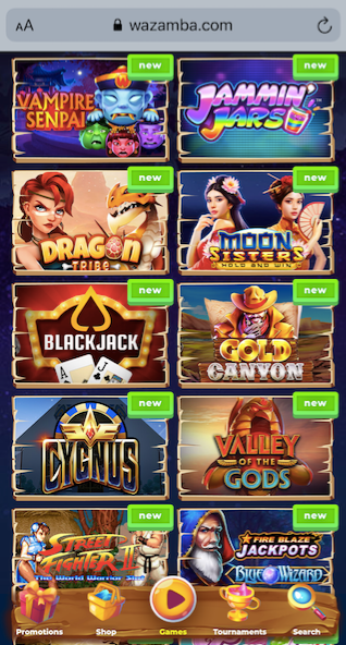wazamba casino mobile game lobby showing 10 popular slots