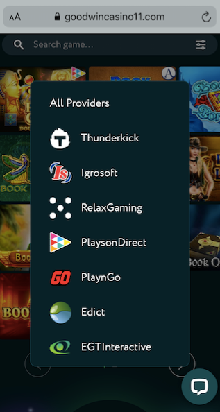 screenshot showing some of the available game providers at goodwin casino mobile version