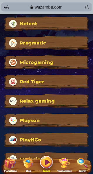 screenshot showing the game provider pop up option