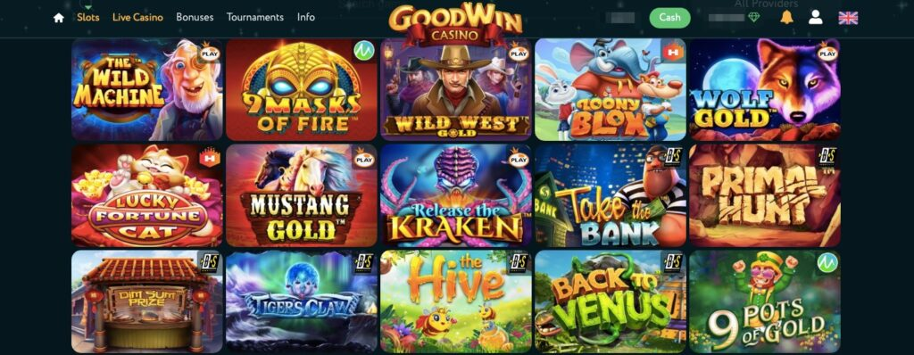 screenshot from the goodwin casino game lobby showing 15 popular slot games