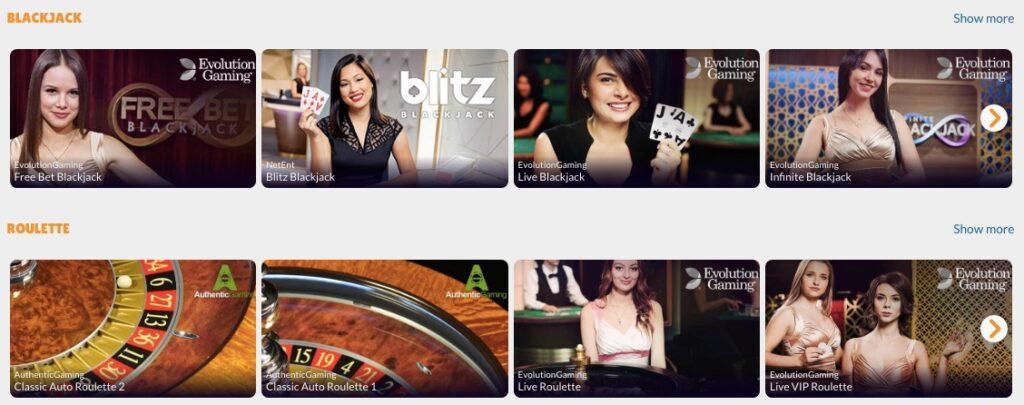 screenshot showing 8 popular live casino games