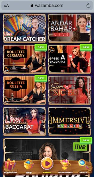 live casino games available at wazamba