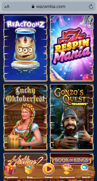wazamba casino game lobby showing 6 popular casino slots