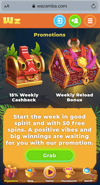 screnshot showing some of the promotions available at wazamba casino