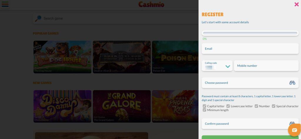 the cashmio casino registration form