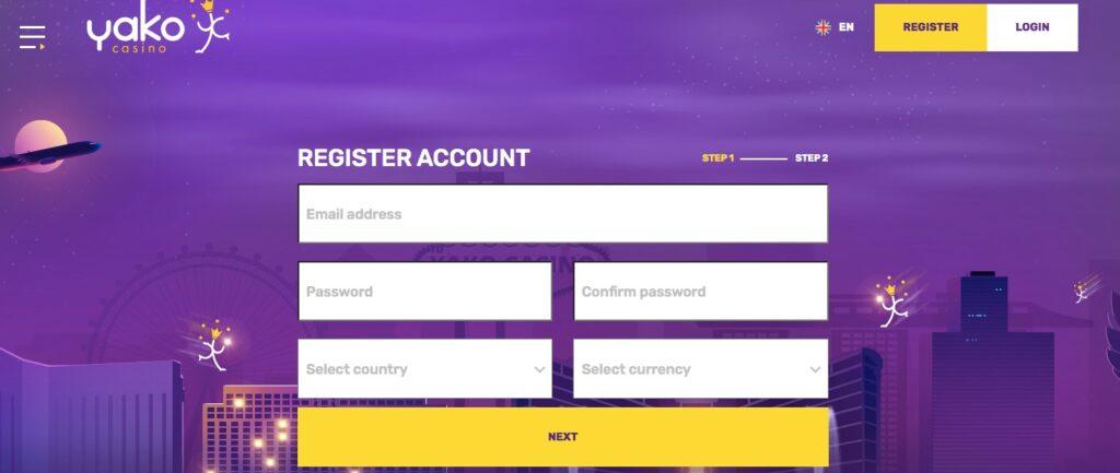 yako casino registration form