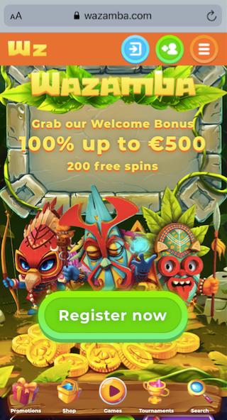 wazamba casino start page showing the welcome offer