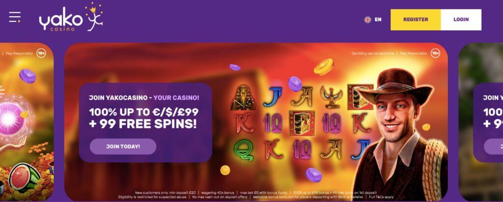screenshot from yako casino start page