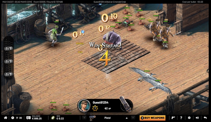 screenshot showing game play from dead mans cove