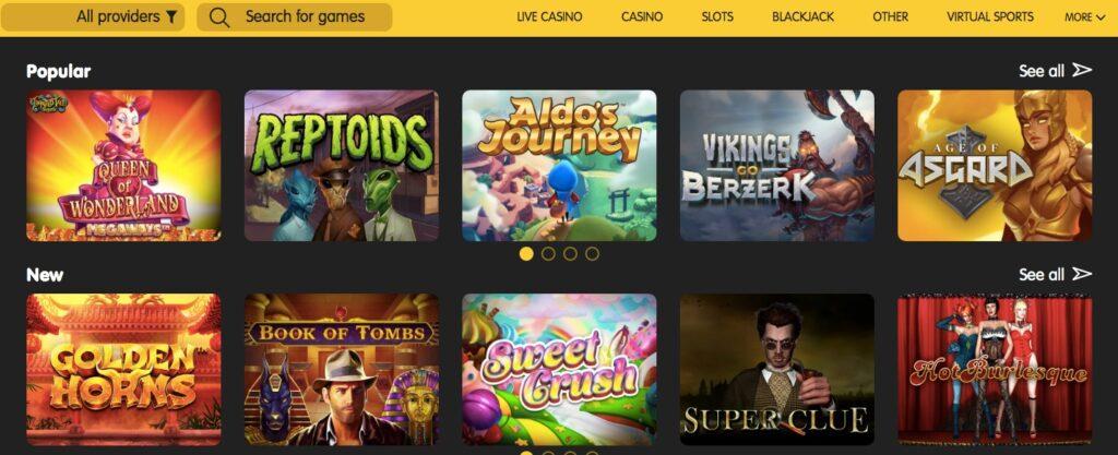 24kcasino game lobby showing ten popular slots