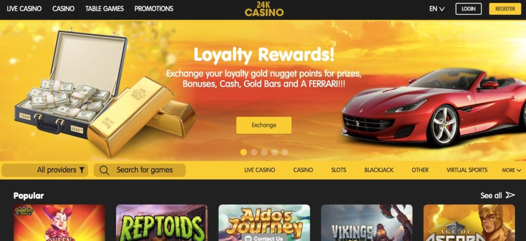 24k casino start page showing some casino games and the loyalty program