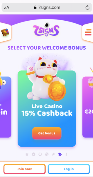 7 signs online casino start page showing a live casino 15% cashback offer