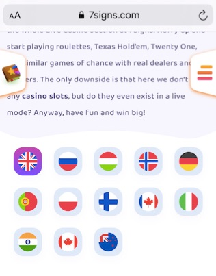 the flags of the different available language versions of the site