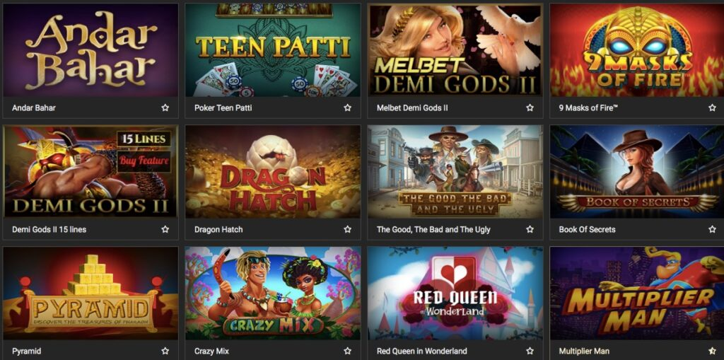 twelve slots from the melbet casino game lobby