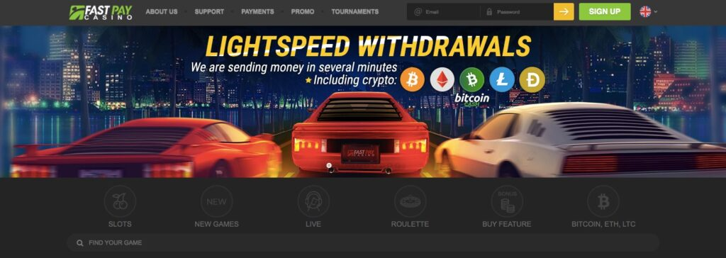 fastpay online casino start page showing information about lightspeed withdrawals