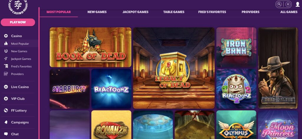 frank and fred online casino most popular games visible like book of dead starburst reactoonz bonanza and more