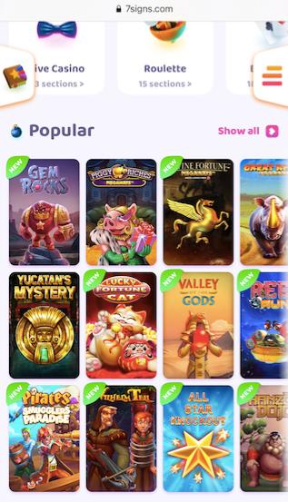 showing twelve popular slots at 7 signs casino