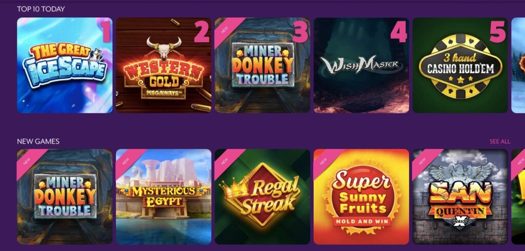 top 5 most popular slot list and 5 new slot games visible