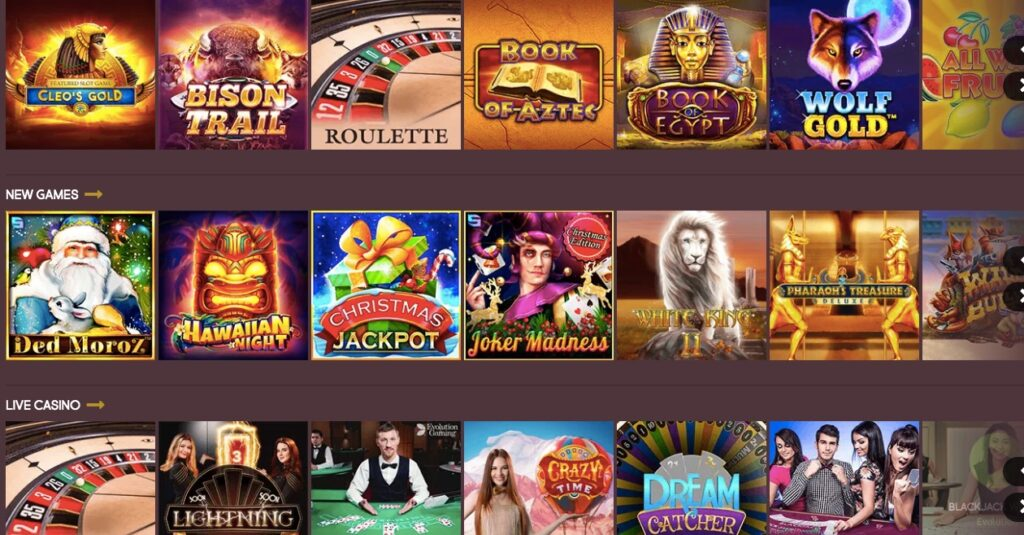 gunsbet casino game lobby showing slots and live casino thumbnails