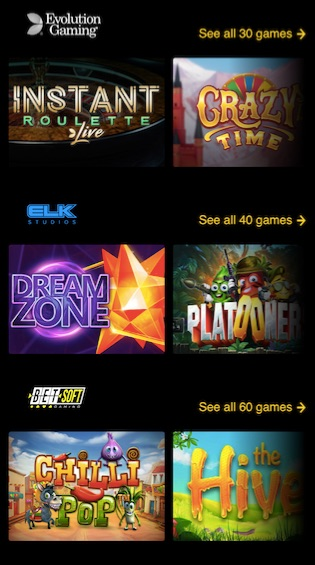 Mobile version game lobby showing six popular casino games