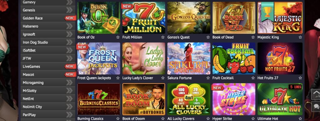 pin up casino game lobby showing fifteen popular casino slots including book of dead