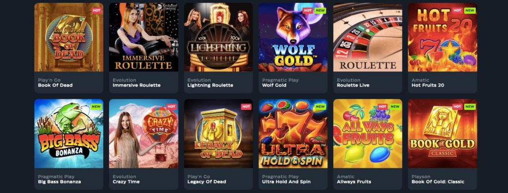 ten popular casino games visible in the gslot game lobby