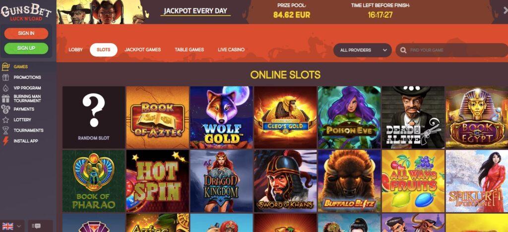 gunsbet popular casino slots