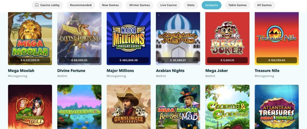 six of the most popular casino jackpot slots online including mega moolah