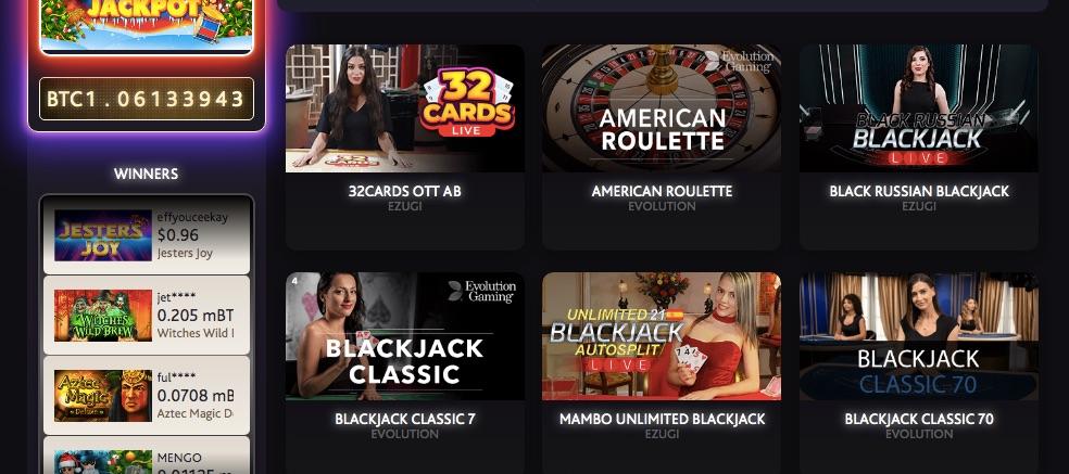 six popular live casino games at 7bitcasino