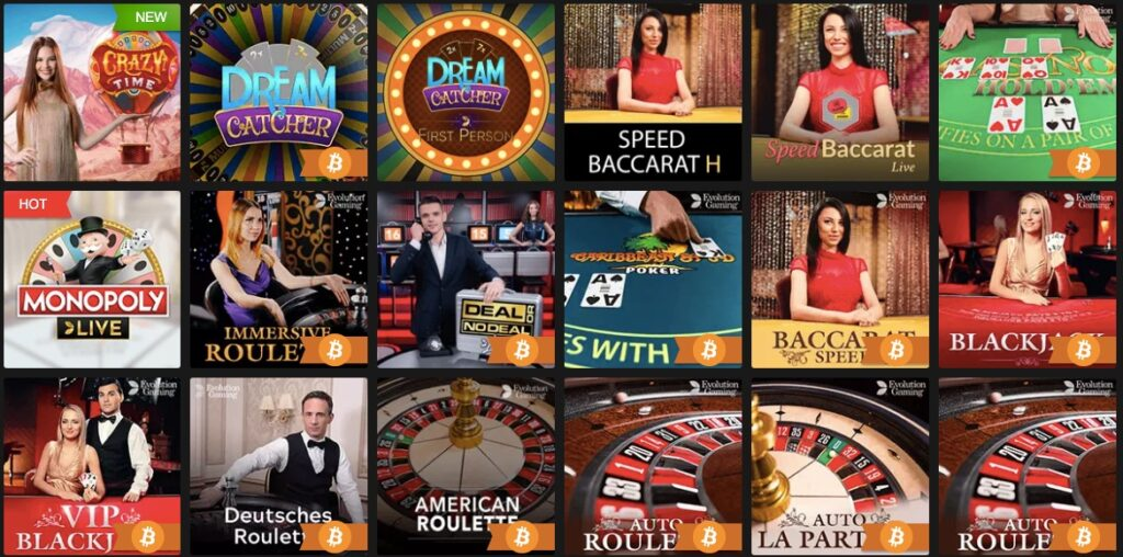 showing 18 popular live casino games