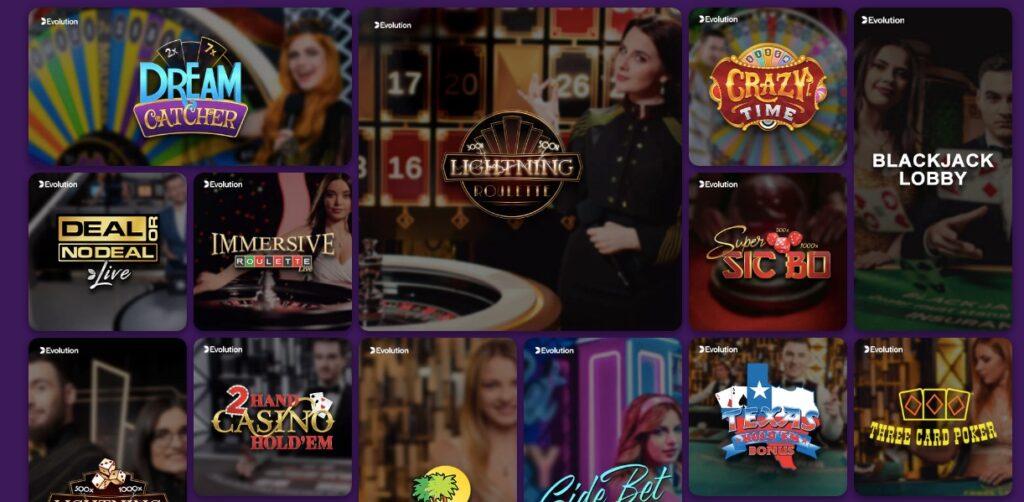 popular live casino game thumbnails like dream catcher lightning roulette and more