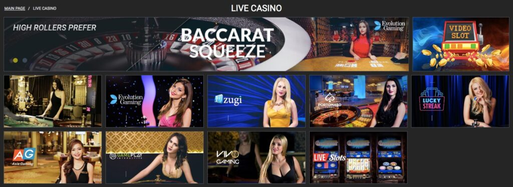 live casino lobby showing different games