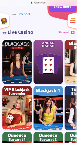 showing a few live casino games on offer