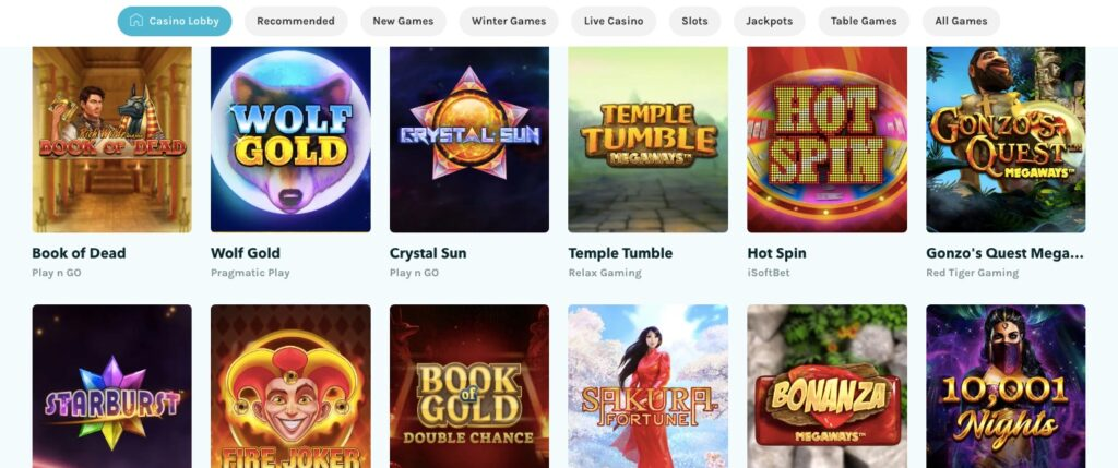 lucky days game lobby showing 12 of the most popular casino slots