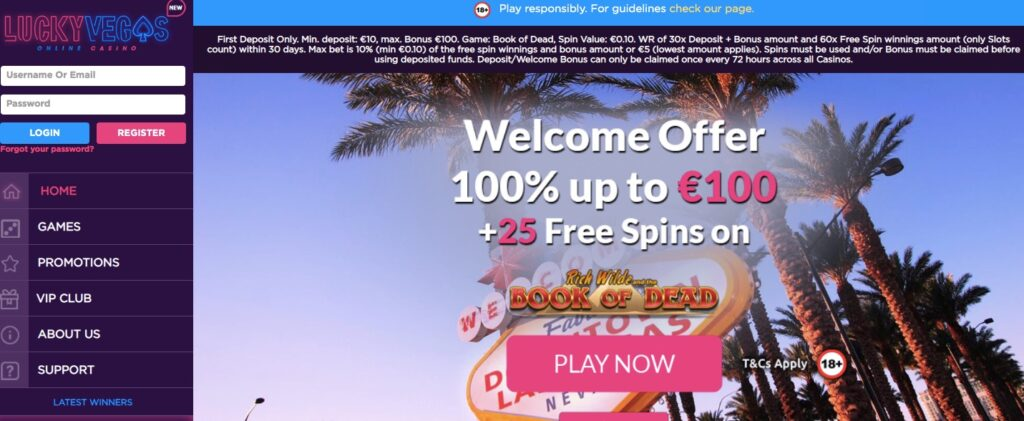 lucky vegas online casino start page showing the welcome offer