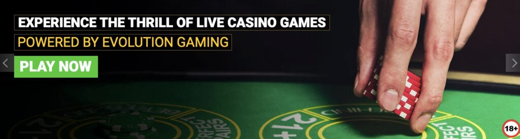 banner promoting the live casino games from evolution gaming
