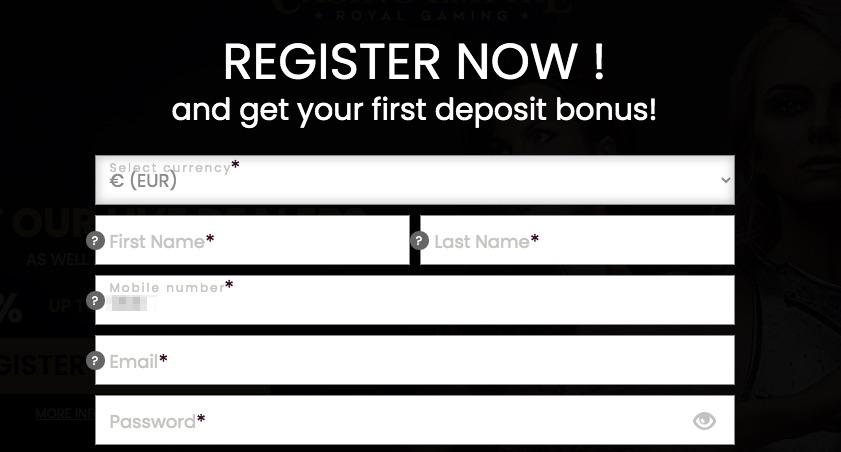 registration form at casino empire