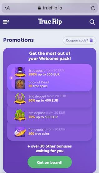 screenshot showing true flip casinos four welcome bonuses