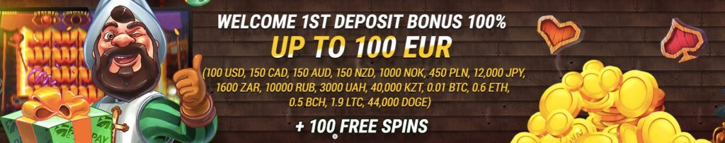 banner showing the fastpay casino 100% up to 100 euro welcome offer