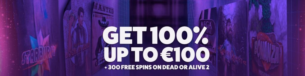 frank and fred casino welcome offer banner showing the 100% up to €100 bonus