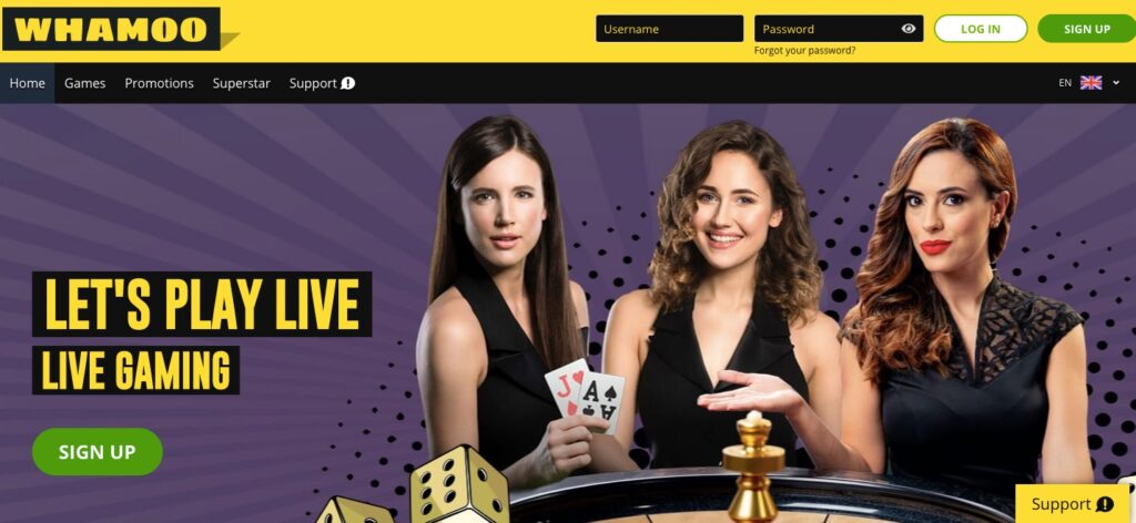 whamoo online casino start page showing live dealers