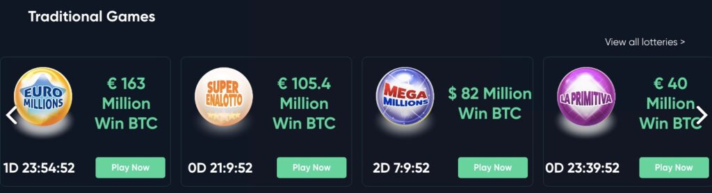 four available lotteries at bitcoin.com including euro millions and mega millions
