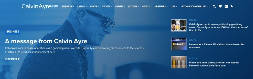 calvin ayre home page