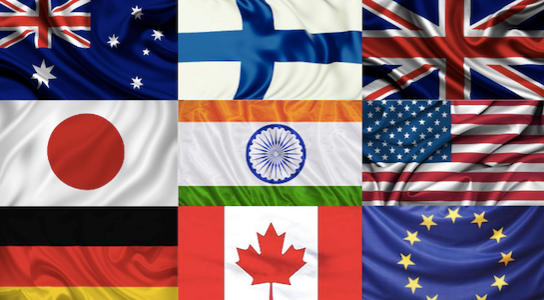 example of nine different flags