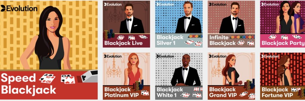thumbnails from nine available live casino games