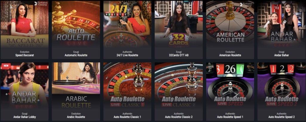 twelve different live casino games available at cobra casino