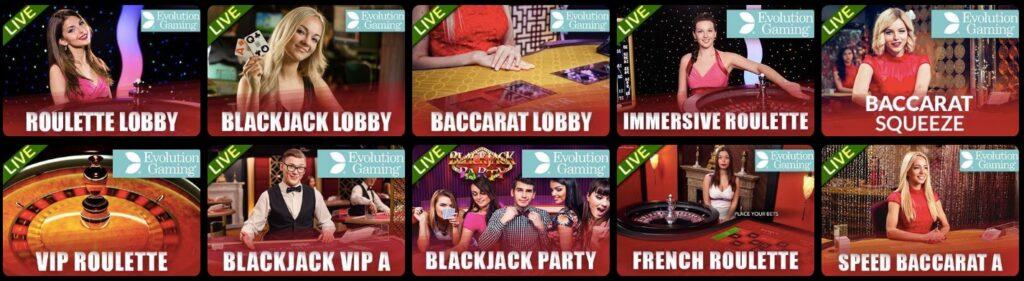 ten popular live casino games